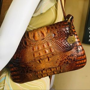 Brahmin Croc Embossed Slim Evening Shoulder Bag